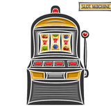 Vector illustration of Slot Machine. Logo of retro gambling one armed bandit, on reel lucky fruit and 777 symbol, vintage gamble slot machine with red buttons royalty free illustration