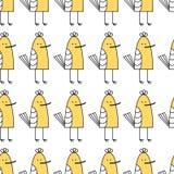 Vector illustration. small baby bird. yellow sandpiper on white background. seamless birds pattern stock illustration