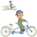 Vector illustration of small boy ride retro bike Royalty Free Stock Photo