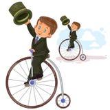 Vector illustration of small boy ride retro bike Stock Images