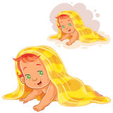 Vector illustration of small child after bath wrapped in a towel isolated on white. Royalty Free Stock Images