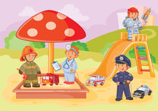 Vector Illustration Small Children Different Professions Playing In The Playground Stock Photography