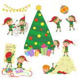 Vector illustration of small cute elves decorating Christmas tree set. Royalty Free Stock Photography
