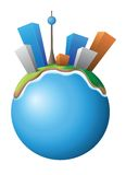 Vector illustration of the small developed planet. Vector illustration of the small planet with city Stock Photography