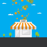 Vector illustration of a small store yielding gold coins.