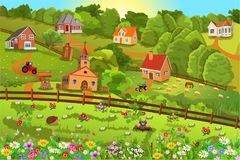 Vector illustration of a small village on hills with lots of flowers all around stock illustration