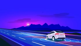 Smart Autonomous Driverless Electric Car Driving on Road at Night with Mountain Landscape. Vector illustration of smart autonomous driverless electric car stock illustration