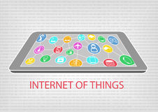 Vector illustration of smart phone or tablet with connected devices. Internet of things (IoT) concept. Visualized by connections between smart phone, tablet Stock Images