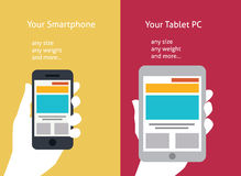 Vector illustration of smart phone and tablet (fla Royalty Free Stock Images