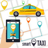 Vector illustration of a smart taxi concept. Stock Image