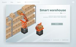 Vector Illustration Smart Warehouse at Factory. stock illustration