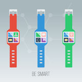 Vector illustration of smart watches. Vector illustration of colorful smart watches Stock Images