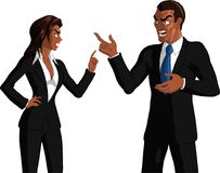 Business Couple Arguing. Vector illustration of smartly dressed black male and black female business partners both pointing wagging a finger at each other and Stock Image