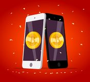 Vector illustration with smartphone having golden coin with bitcoin emblem on its screen isolated on red background. Mobile device and cryptocurrency symbol Royalty Free Stock Photography