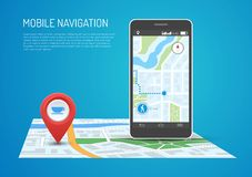 Vector illustration of smartphone with mobile navigation in flat design. Vector illustration of smartphone with mobile navigation app on screen. Route map with Royalty Free Stock Image