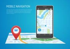 Vector illustration of smartphone with mobile navigation in flat design stock illustration