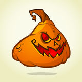 Vector illustration of smiley face carved in pumpkin head for Halloween. Vector isolated Stock Image