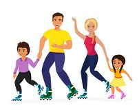 Vector illustration of smiley family skating on the white background. Sport family, mother, father, dother and son happy vector illustration