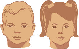 Vector illustration of smiling baby faces on a Stock Images
