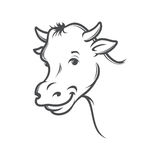 Vector illustration of smiling cow. Smiling cow,  stylized drawing, vector illustration Royalty Free Stock Images