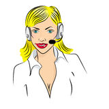 Vector illustration of smiling cute woman working as telephone operator Royalty Free Stock Photography