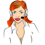 Vector illustration of smiling cute woman working as telephone operator Stock Photography