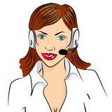 Vector illustration of smiling cute woman working as telephone operator.  Royalty Free Stock Photography