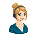 Vector illustration of smiling cute woman working as telephone operator Royalty Free Stock Images