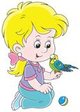 Little girl and her budgerigar Royalty Free Stock Images