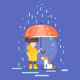 Vector illustration of smiling girl in a yellow raincoat. Holding an umbrella, protecting a dog from the rain Stock Images