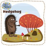 Cute hedgehog, on a background of a landscape with elements of forest, trees, forest animals, cartoon style, banner. Vector illustration of smiling hedgehog Royalty Free Stock Photo