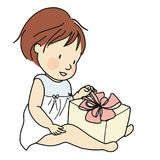 Vector illustration of smiling kid with gift box. Family concept - happy birthday, merry Christmas and happy new year . Cartoon character drawing style Royalty Free Stock Photography