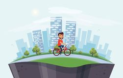 Man on Electric Bicycle on the Street with City Skyline Background Royalty Free Stock Image