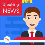 Vector illustration of smiling news journalist anchorman. Royalty Free Stock Image