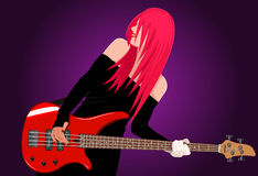 Vector illustration of smiling rock girl royalty free stock photography