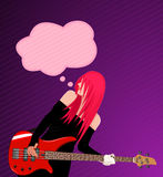 Vector illustration of smiling rock girl Royalty Free Stock Photo