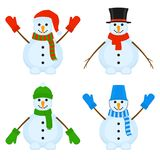 Snowmen Vector Set. Vector illustration of smiling snowmen isolated on white background. Cute Christmas characters Royalty Free Stock Images