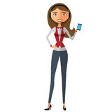 Vector illustration of smiling telephone operator isolated Royalty Free Stock Photos