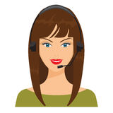 Vector illustration of smiling telephone operator. Nice woman. Face with flat color design with headphone Stock Photography