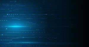 Vector illustration smooth lines in dark blue color background. Hi-tech digital technology concept. Abstract futuristic, shiny lines background Royalty Free Stock Images