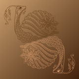 Vector illustration of Snail cartoon. Henna Mehendi Stock Image