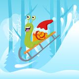Vector illustration of snail with Christmas hat riding sledge on snowy hill. Vector illustration of snail with Christmas hat riding sledge on snowy hill Stock Images