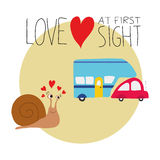 Vector illustration of a snail falling in love with a car and a trailer. Royalty Free Stock Image