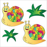 Vector illustration of a snail - a puzzle for child Royalty Free Stock Images