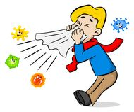 Sneezing man with germs royalty free illustration