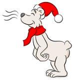 Sniffing cartoon christmas polar bear. Vector illustration of a sniffing cartoon christmas polar bear Stock Image
