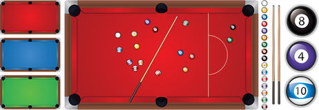 Vector illustration of snooker table with a cue and balls, isolated. Vector illustration of snooker table in red,green and blue color with a cue and balls Stock Photos