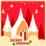 Snow covered decorated house for Merry Christmas holiday festival greeting background Stock Photos