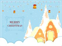 Snow covered decorated house for Merry Christmas holiday festival greeting background Stock Photography