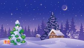 Christmas twilight landscape Stock Image